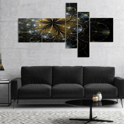 Designart Large Mystic Golden Fractal Flower Multipanel Floral Canvas Art Print - 4 Panels