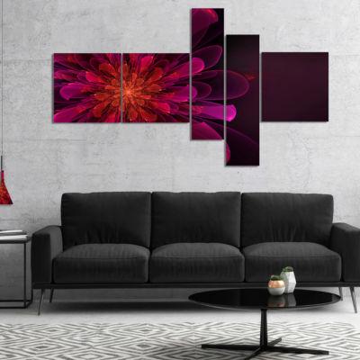 Designart Large Pink Alien Fractal Flower Multipanel Floral Canvas Art Print - 5 Panels