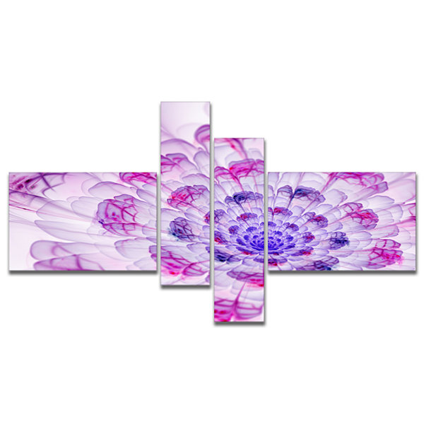Designart Large Purple Fractal Flower Petals Multipanel Floral Art Canvas Print - 4 Panels
