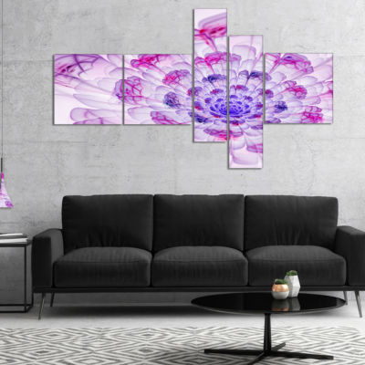 Designart Large Purple Fractal Flower Petals Multipanel Floral Art Canvas Print - 5 Panels