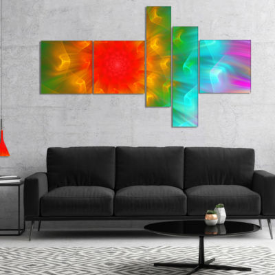Designart Large Red Alien Fractal Flower Multipanel Floral Art Canvas Print - 5 Panels