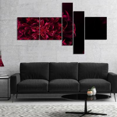 Designart Large Red Alien Fractal Flower Multipanel Red Multipanel Floral Art Canvas Print - 5 Panels