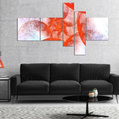 Designart Large Red Fractal Circles Multipanel Floral Canvas Art Print - 4 Panels