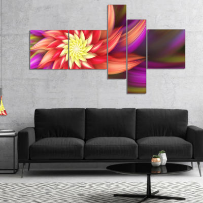 Designart Large Red Purple Alien Flower MultipanelFloral Canvas Art Print - 5 Panels