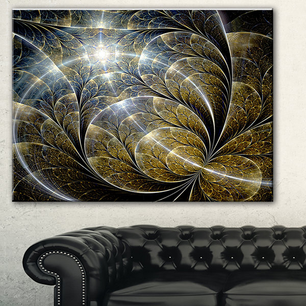 Designart Symmetrical Gold Fractal Flower With Lighting Floral Art Canvas Print - 3 Panels
