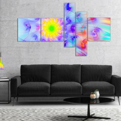 Designart Large Yellow Alien Fractal Flower Multipanel Floral Canvas Art Print - 5 Panels