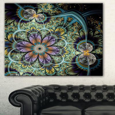 Designart Symmetrical Green Fractal Flower LargeFloral Art Canvas Print - 3 Panels