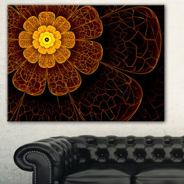 Designart Symmetrical Orange Fractal Flower FloralArt Canvas Print