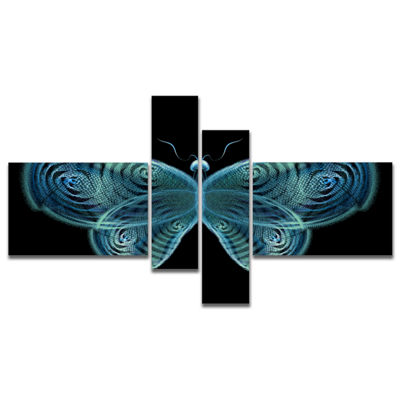 Designart Light Blue Fractal Butterfly In Dark Multipanel Abstract Canvas Art Print - 4 Panels