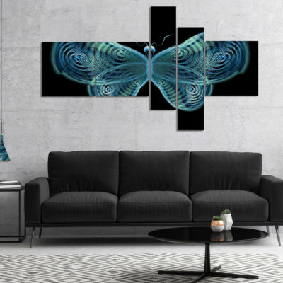 Designart Light Blue Fractal Butterfly In Dark Multipanel Abstract Canvas Art Print - 5 Panels