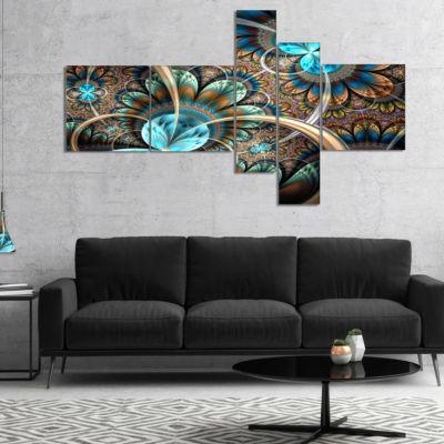 Designart Light Blue Fractal Flower Multipanel Floral Art Canvas Print - 4 Panels