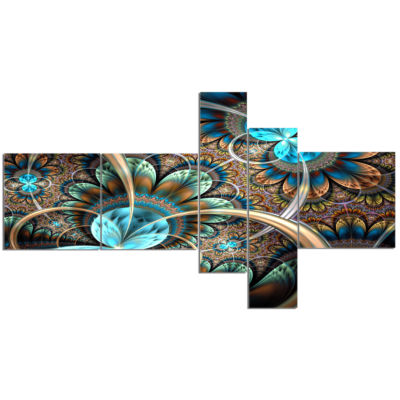 Designart Light Blue Fractal Flower Multipanel Floral Art Canvas Print - 5 Panels