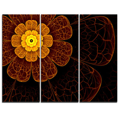 Designart Symmetrical Orange Fractal Flower FloralArt Canvas Print - 3 Panels