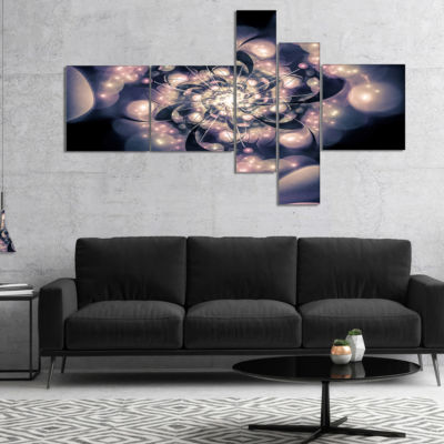 Design Art Light Blue Fractal Flower Pattern Multipanel Floral Art Canvas Print - 4 Panels