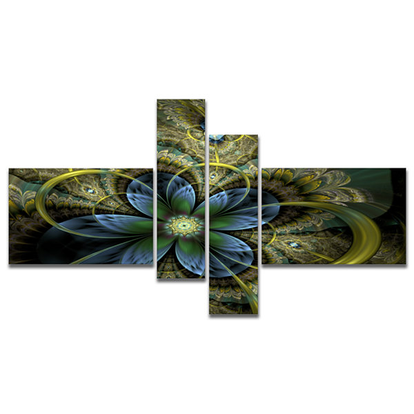 Designart Light Fractal Flower And Butterfly Multipanel Floral Art Canvas Print - 4 Panels
