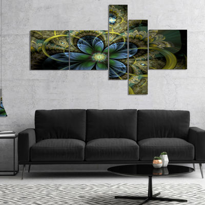 Designart Light Fractal Flower And Butterfly Multipanel Floral Art Canvas Print - 5 Panels