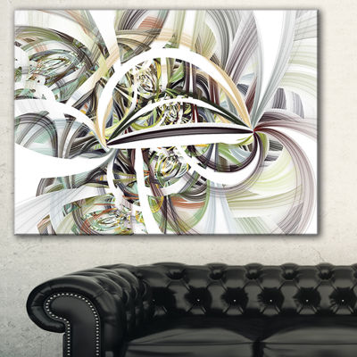 Designart Symmetrical Spiral Fractal Flowers Abstract Print On Canvas - 3 Panels