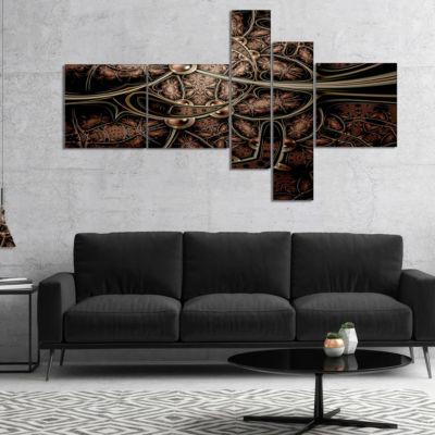 Design Art Light Purple Metallic Fabric Pattern Multipanel Abstract Print On Canvas - 5 Panels