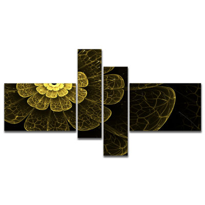 Designart Light Yellow Metallic Fabric Flower Multipanel Abstract Print On Canvas - 4 Panels
