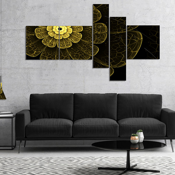 Design Art Light Yellow Metallic Fabric Flower Multipanel Abstract Print On Canvas - 4 Panels