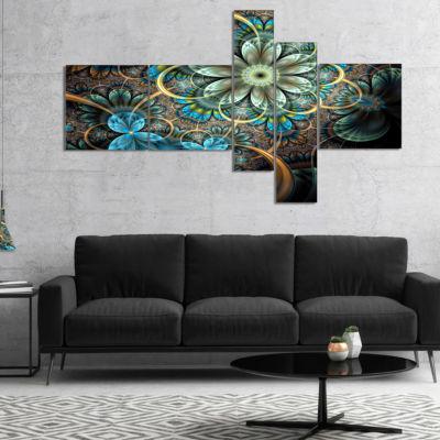 Designart Lighted Blue Fractal Blue Flowers Multipanel Floral Art Canvas Print - 4 Panels