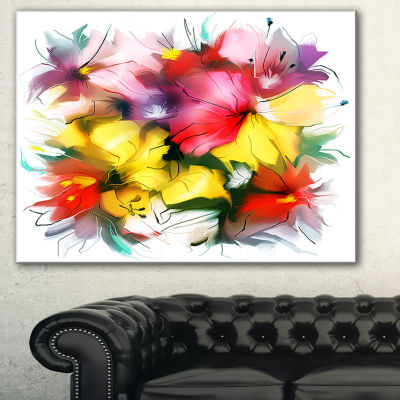 Designart Textured Flowers In Multiple Hues Contemporary Canvas Art Print - 3 Panels
