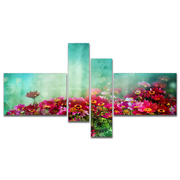 Designart Little Red And Pink Flowers On Blue Multipanel Floral Canvas Art Print - 4 Panels