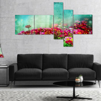 Designart Little Red And Pink Flowers On Blue Multipanel Floral Canvas Art Print - 5 Panels