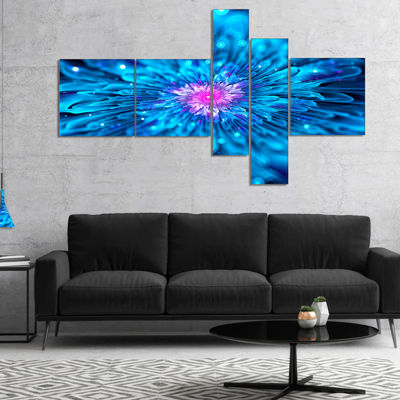 Designart Magical Blue Glowing Flower MultipanelFloral Art Canvas Print - 4 Panels