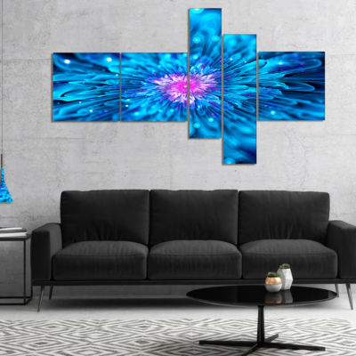 Designart Magical Blue Glowing Flower MultipanelFloral Art Canvas Print - 5 Panels