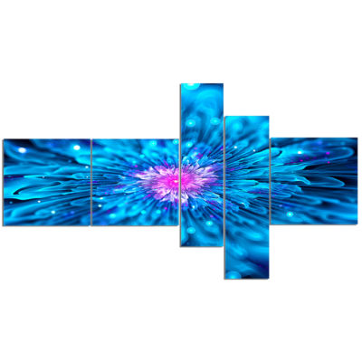 Designart Magical Blue Glowing Flower Multipanel Floral Art Canvas Print - 5 Panels