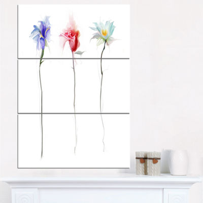 Designart Three Flowers Floral Art Canvas Print -3Panels