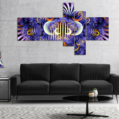Designart Magical Fairy Pattern Illustration Multipanel Floral Canvas Art Print - 4 Panels