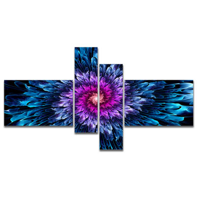 Designart Magical Glowing Fractal Flower Multipanel Floral Art Canvas Print - 4 Panels