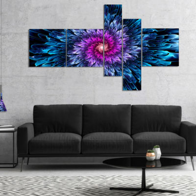 Design Art Magical Glowing Fractal Flower Multipanel Floral Art Canvas Print - 4 Panels