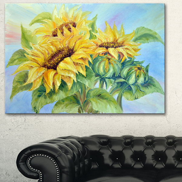 Designart Three Sunflowers Floral Art Canvas Print- 3 Panels
