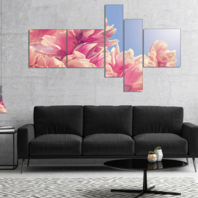 Designart Magnolia Flowers On Sky Background Multipanel Floral Canvas Art Print - 5 Panels
