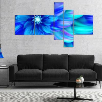 Design Art Massive Blue Fractal Flower MultipanelFloral Canvas Art Print - 5 Panels