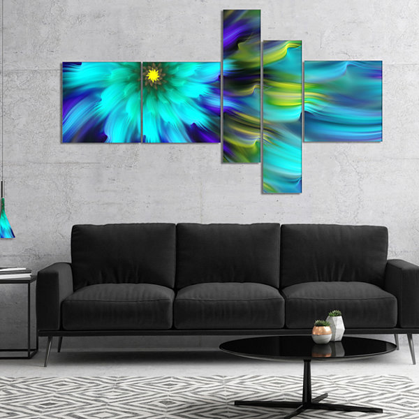 Designart Massive Blue Green Fractal Flower Multipanel Floral Canvas Art Print - 5 Panels