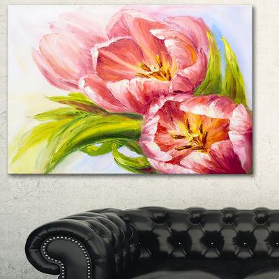 Designart Tulips Flowers Floral Art Canvas Print-3Panels