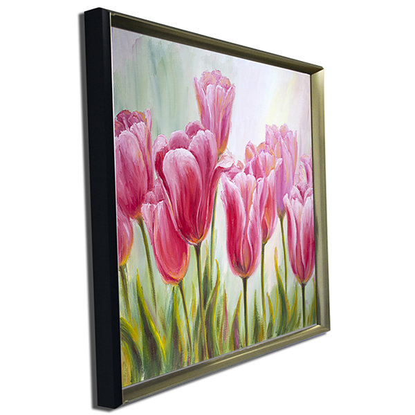Designart Tulips In A Row Floral Art Canvas Print