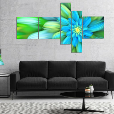Designart Massive Green Fractal Flower MultipanelFloral Canvas Art Print - 5 Panels