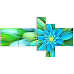 Designart Massive Green Fractal Flower MultipanelFloral Canvas Art Print - 5 Panels