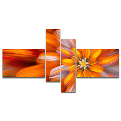 Designart Massive Orange Fractal Flower MultipanelFloral Canvas Art Print - 4 Panels