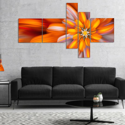 Designart Massive Orange Fractal Flower MultipanelFloral Canvas Art Print - 5 Panels