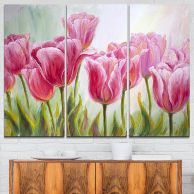 Designart Tulips In A Row Floral Art Canvas Print- 3 Panels