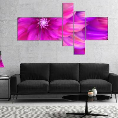 Designart Massive Pink Fractal Flower MultipanelFloral Canvas Art Print - 4 Panels