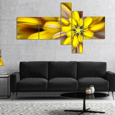 Designart Massive Yellow Fractal Flower MultipanelFloral Canvas Art Print - 4 Panels