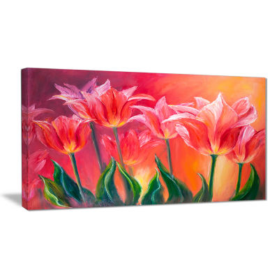 Designart Tulips In Red Shade Floral Art Canvas Print