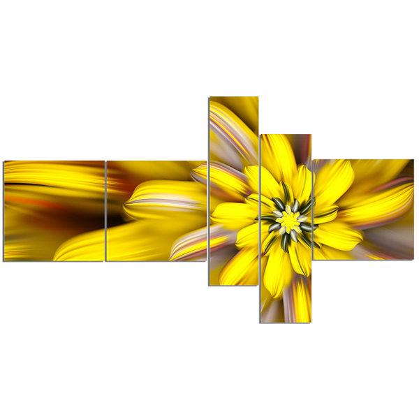 Designart Massive Yellow Fractal Flower MultipanelFloral Canvas Art Print - 5 Panels